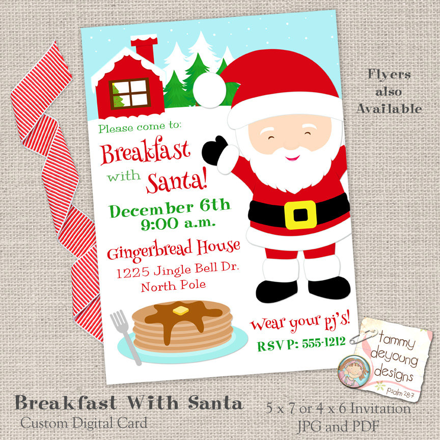breakfast with santa preschool flyer invitation