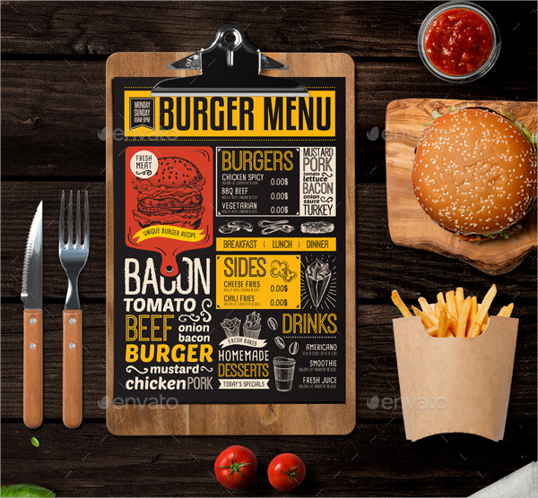 burger food menu