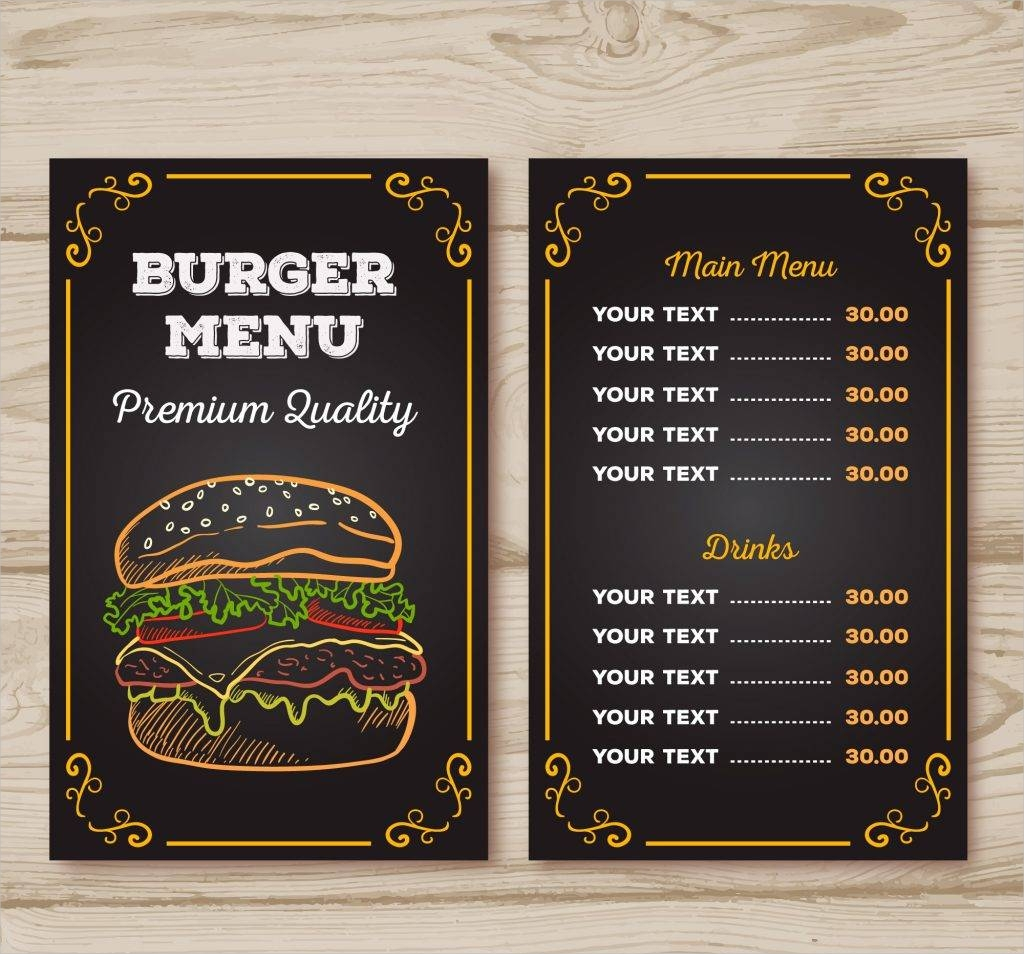 burger menu chalk design free vector