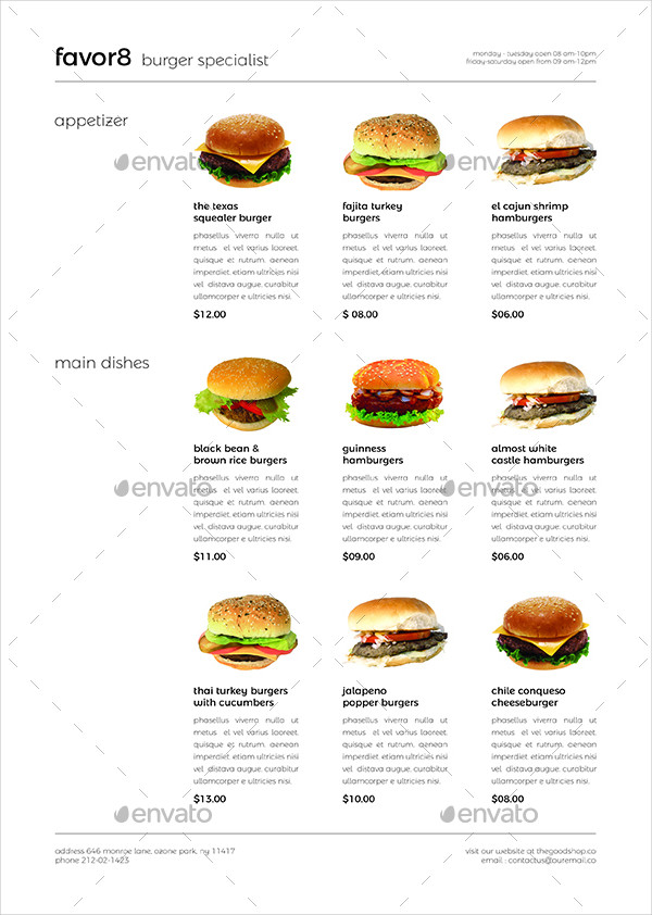 burger menu set
