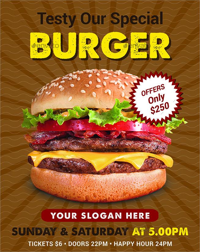burger menu and flyer template