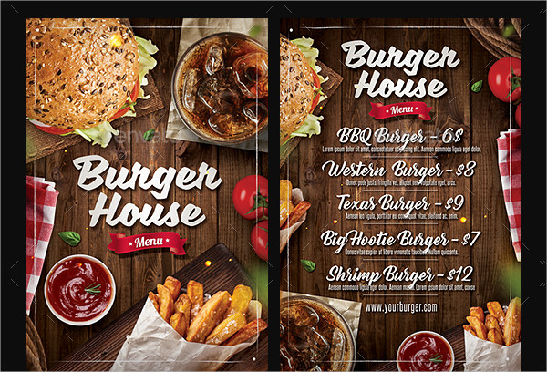 burger menu and flyer