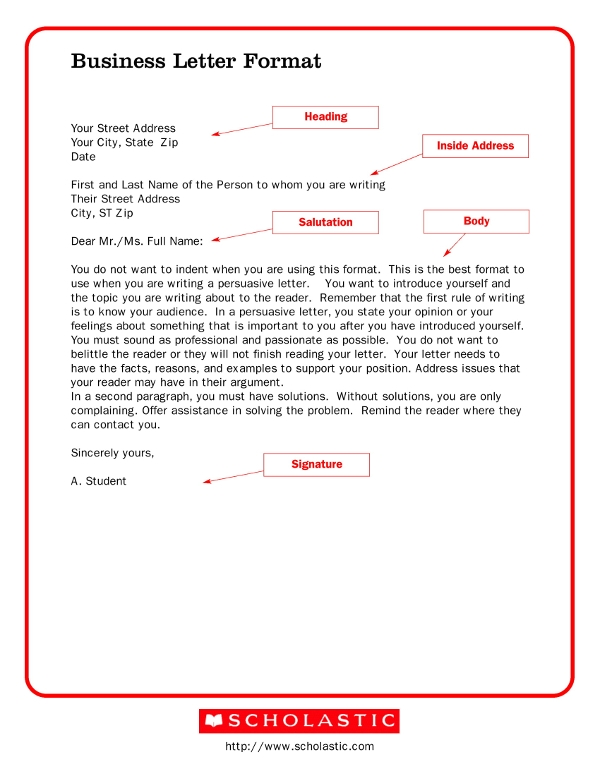 business letter format sample1