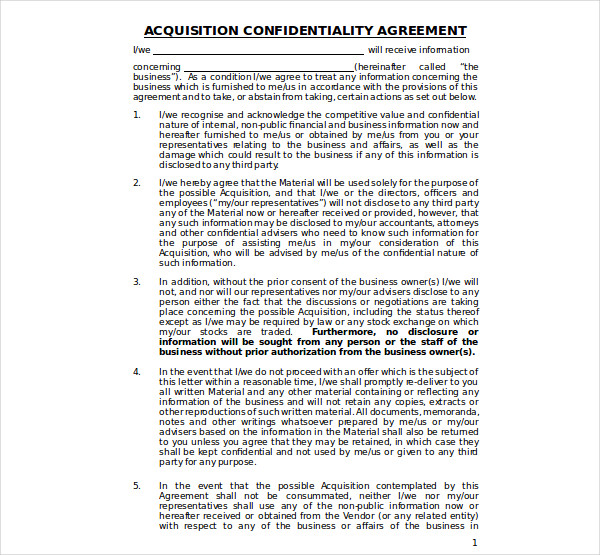 business sale confidentiality agreement