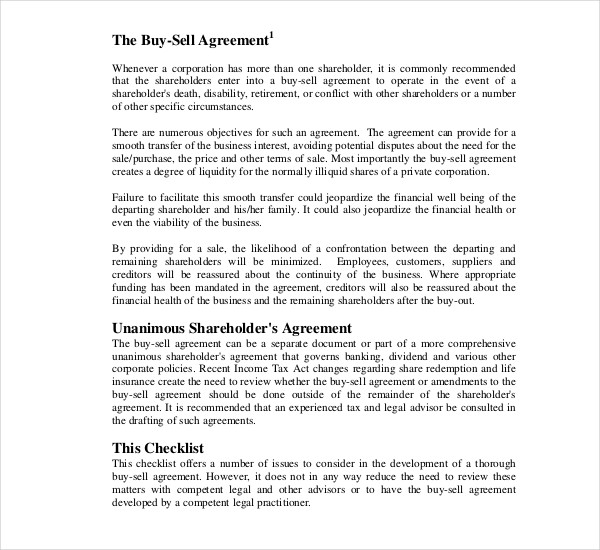 buy sell agreement planning checklist