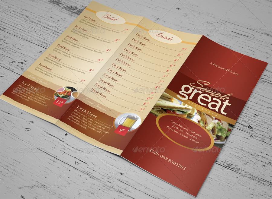 cafe takeaway menu template example