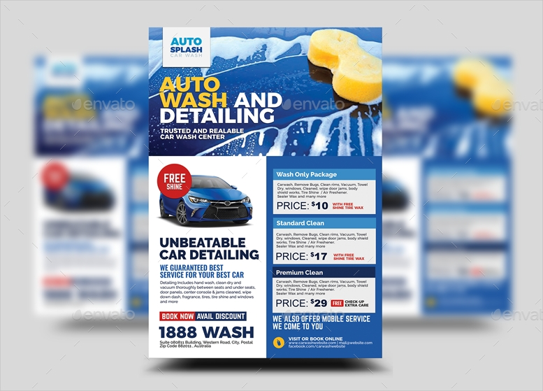 car commercial washing flyer