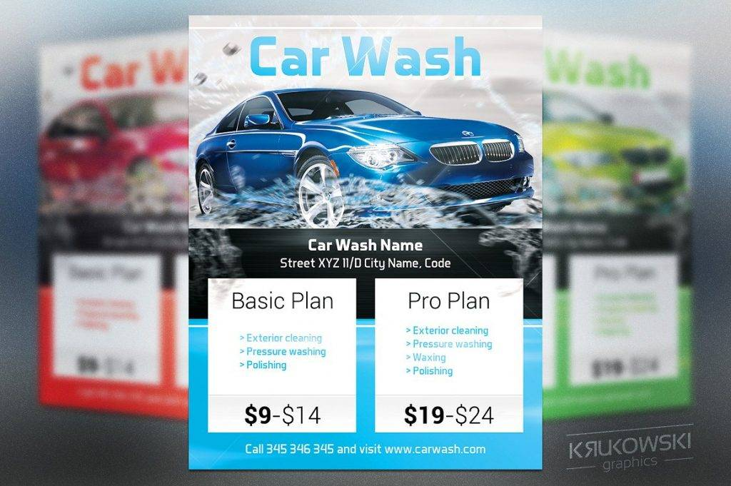 car wash flyer poster template