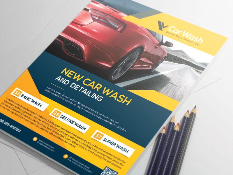 car wash flyer template and design