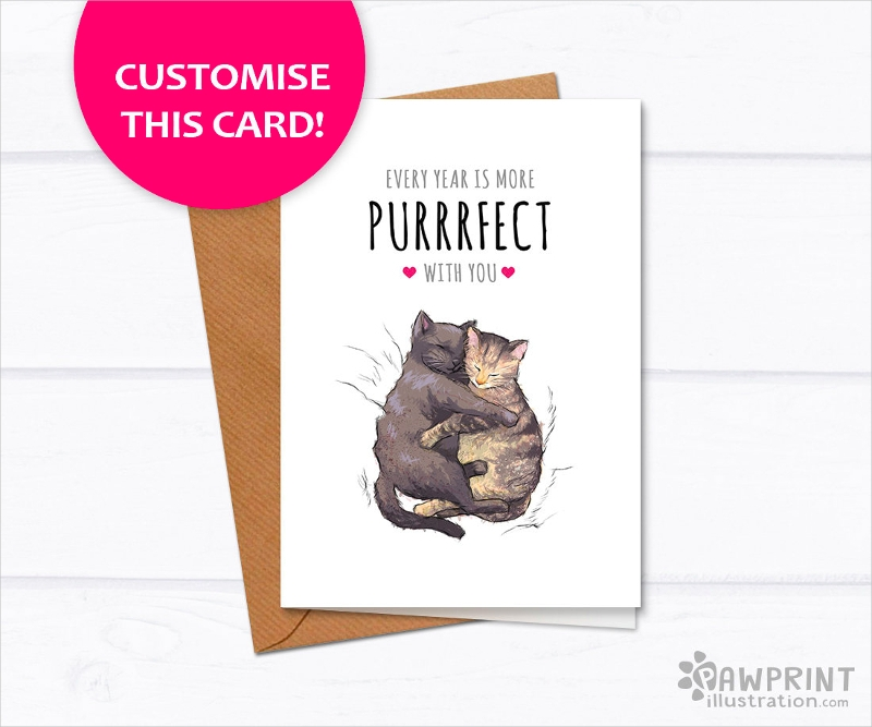 cat anniversary greeting card