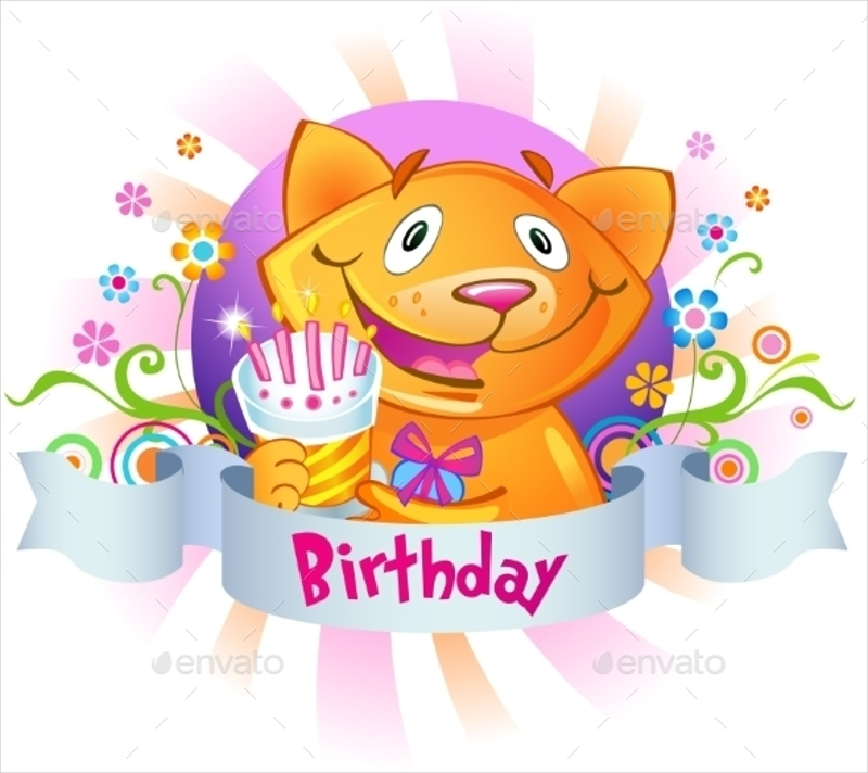 cat with a cake birthday greeting card