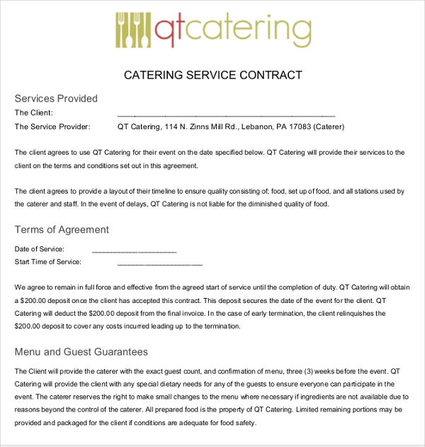 Catering services term paper