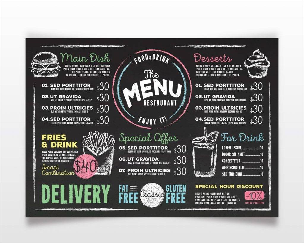 chalkboard menu template free vector