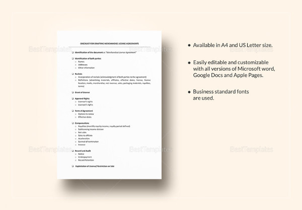 checklist drafting merchandising license agreement