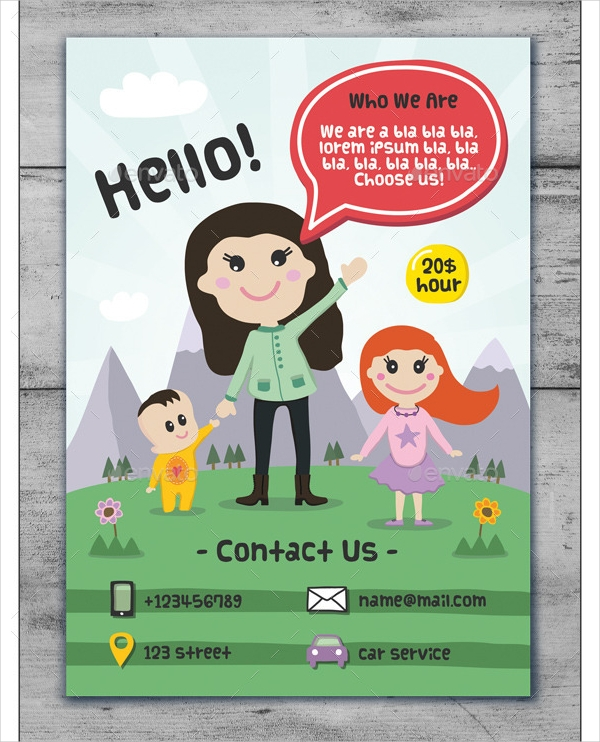 child care and babysitting cartoon flyer1