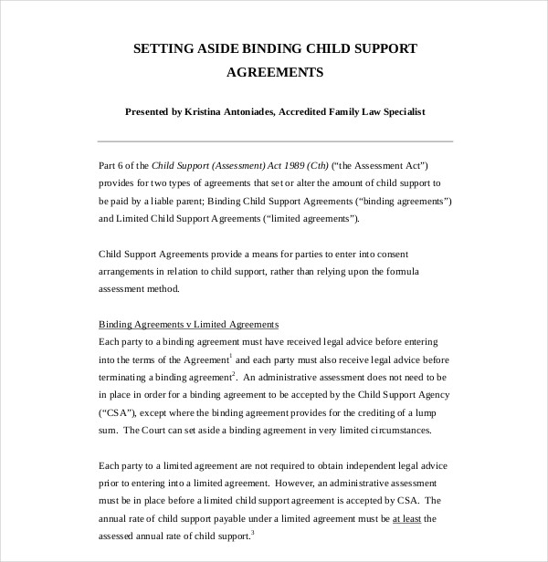 7 Child Support Agreement Examples Pdf Doc