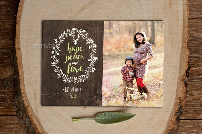 christmas photo card with rustic wreath