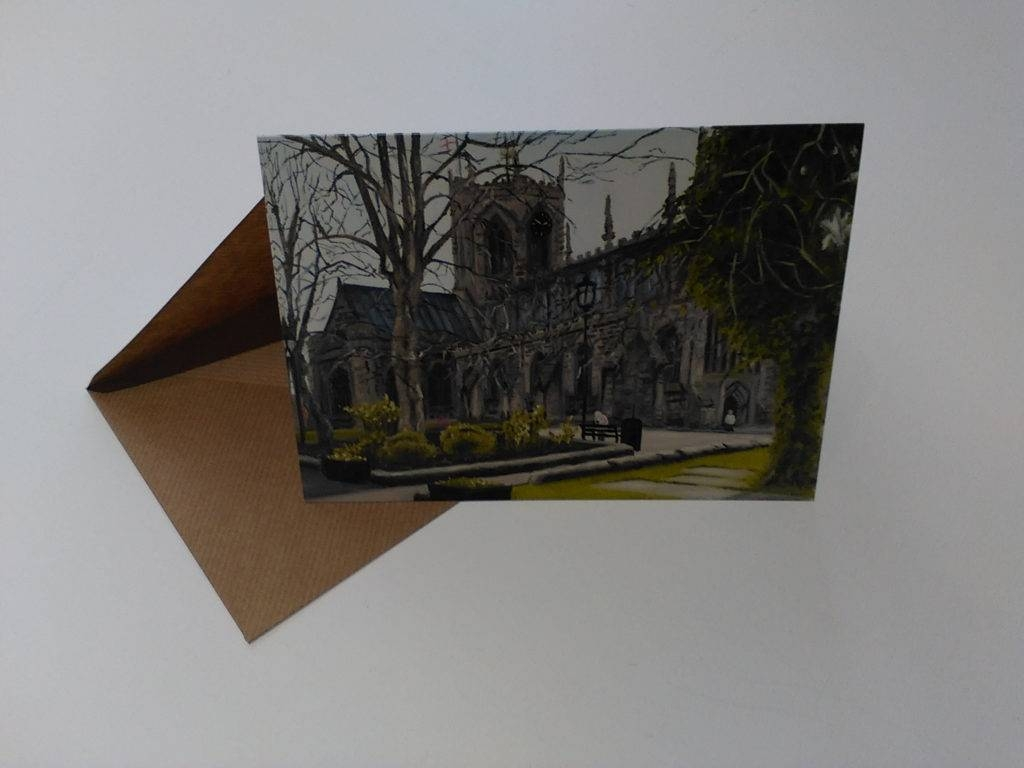 church greeting card with envelope