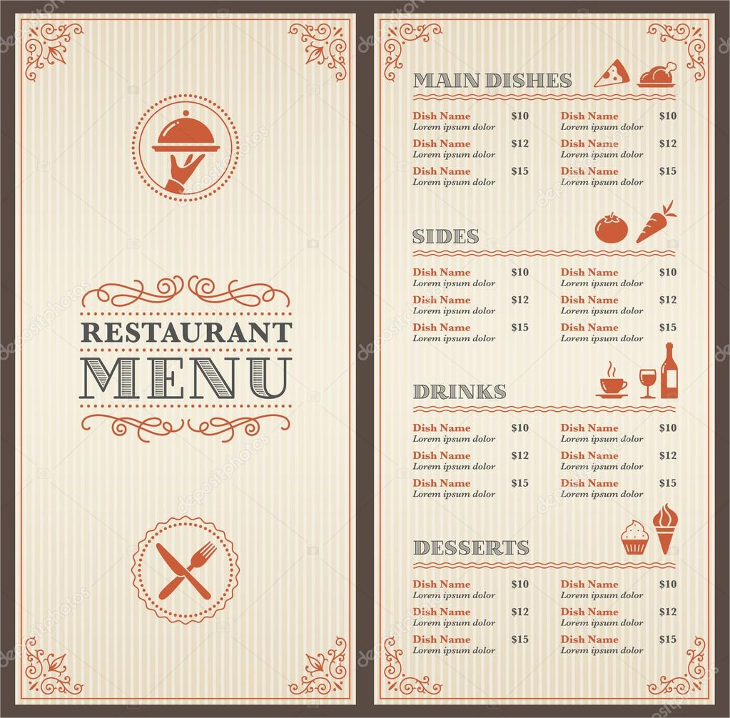 14 free menu designs examples psd ai for Resturant menu templates