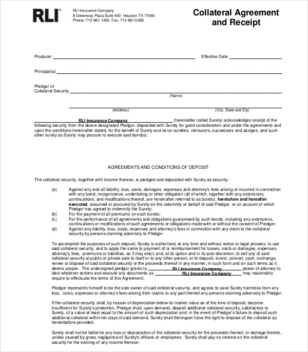 collateral receipt agreement