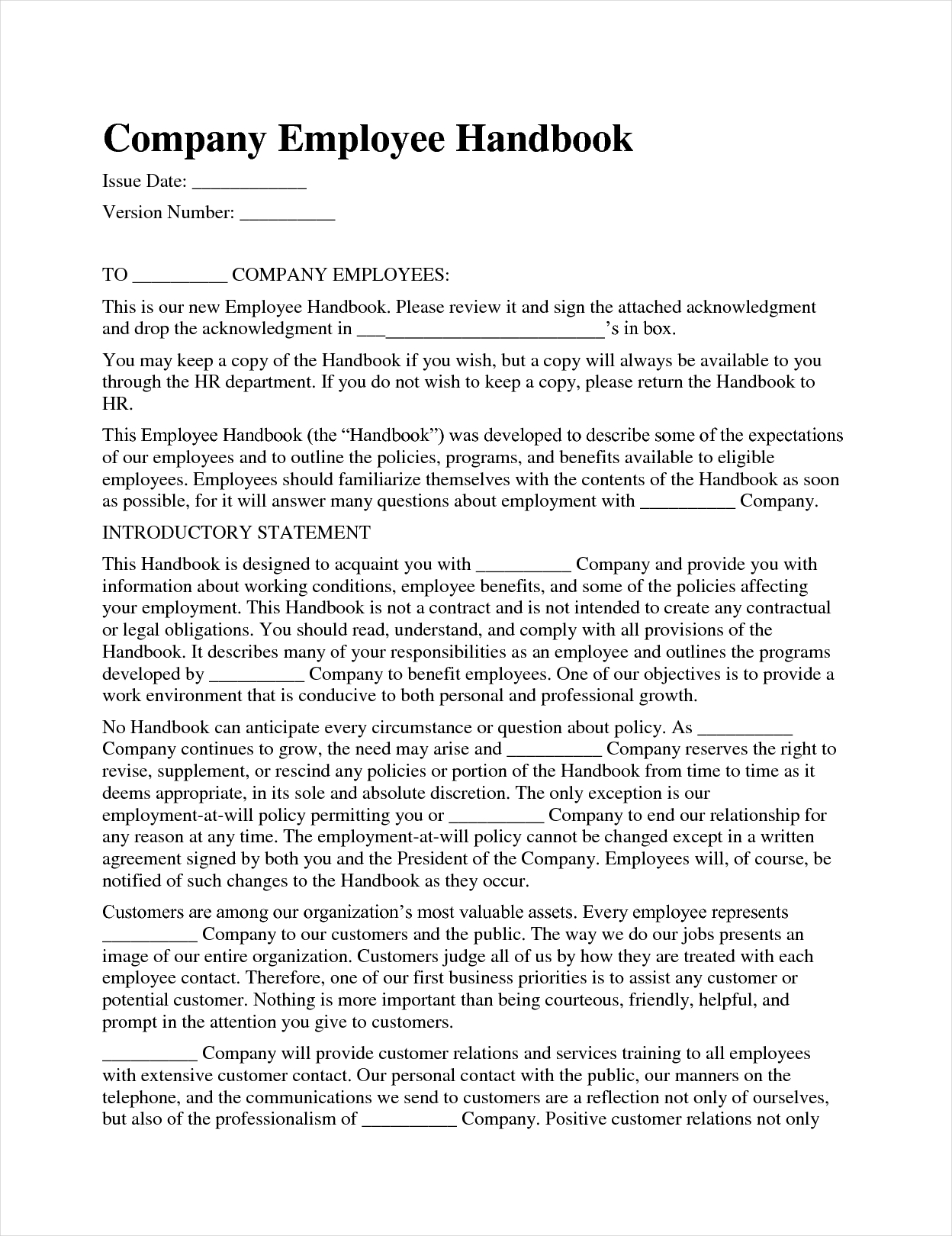 Employee handbook outline examples pdf for Employee guidelines template