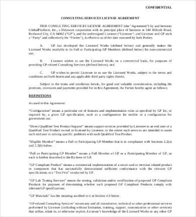 consulting services license agreement