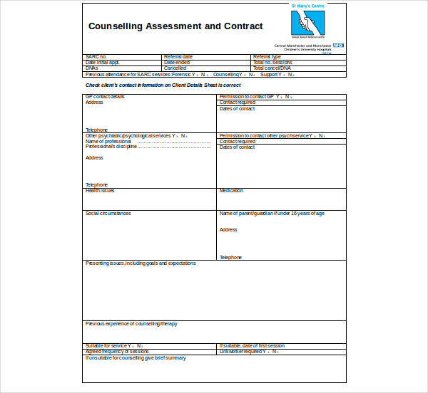 counselling assessment and contract