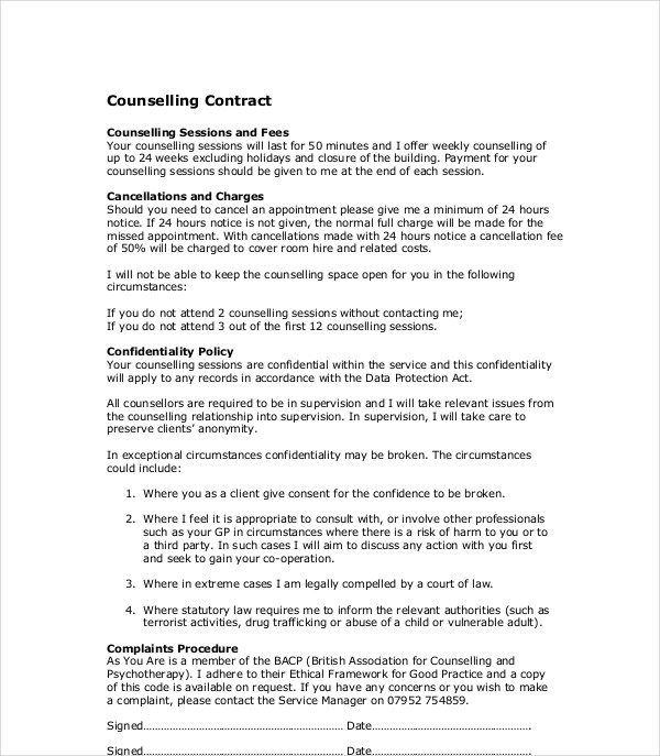 counselling contract example