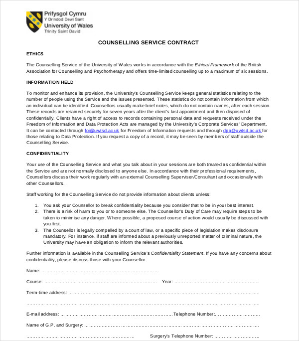 counselling service contract