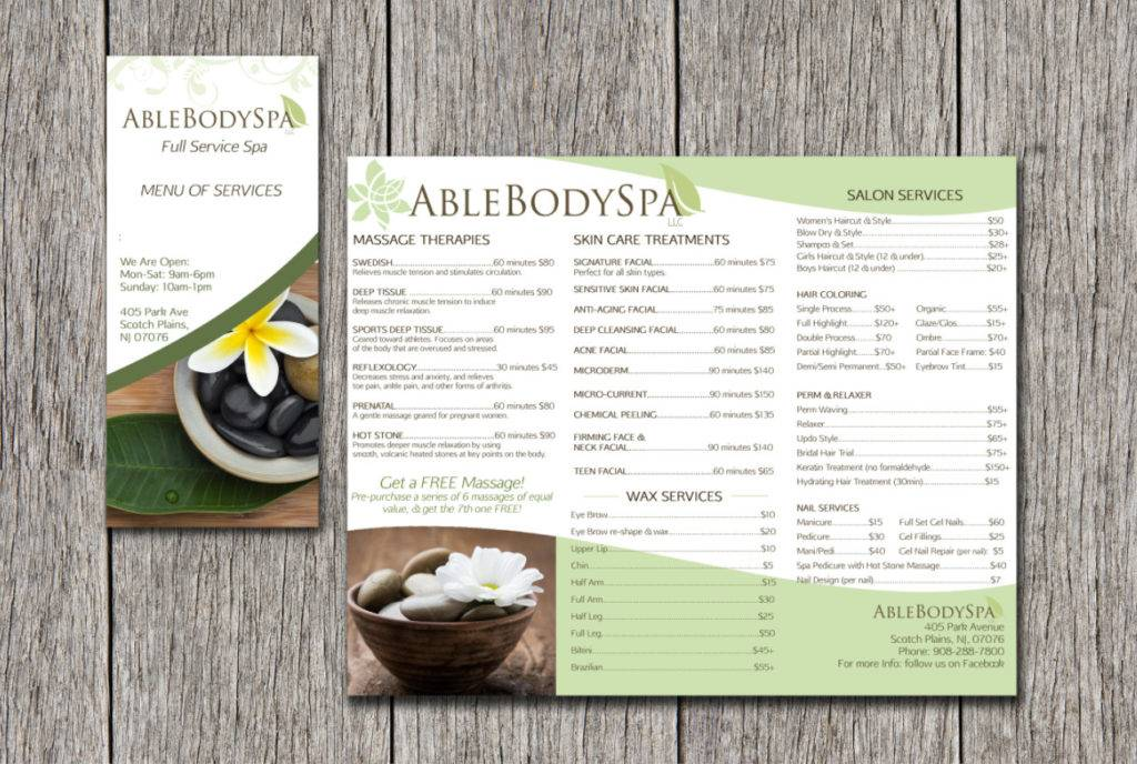 customizable brochure and menu of services
