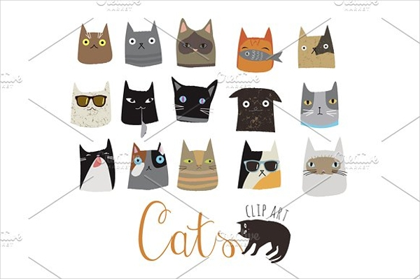 cute cat illustrations for greeting cards