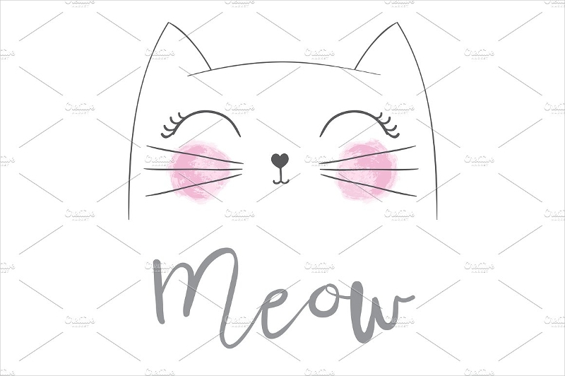cute cat vector greeting card example
