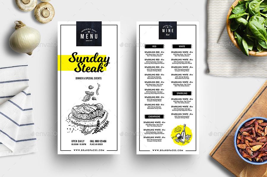 dl rack card takeaway food menu