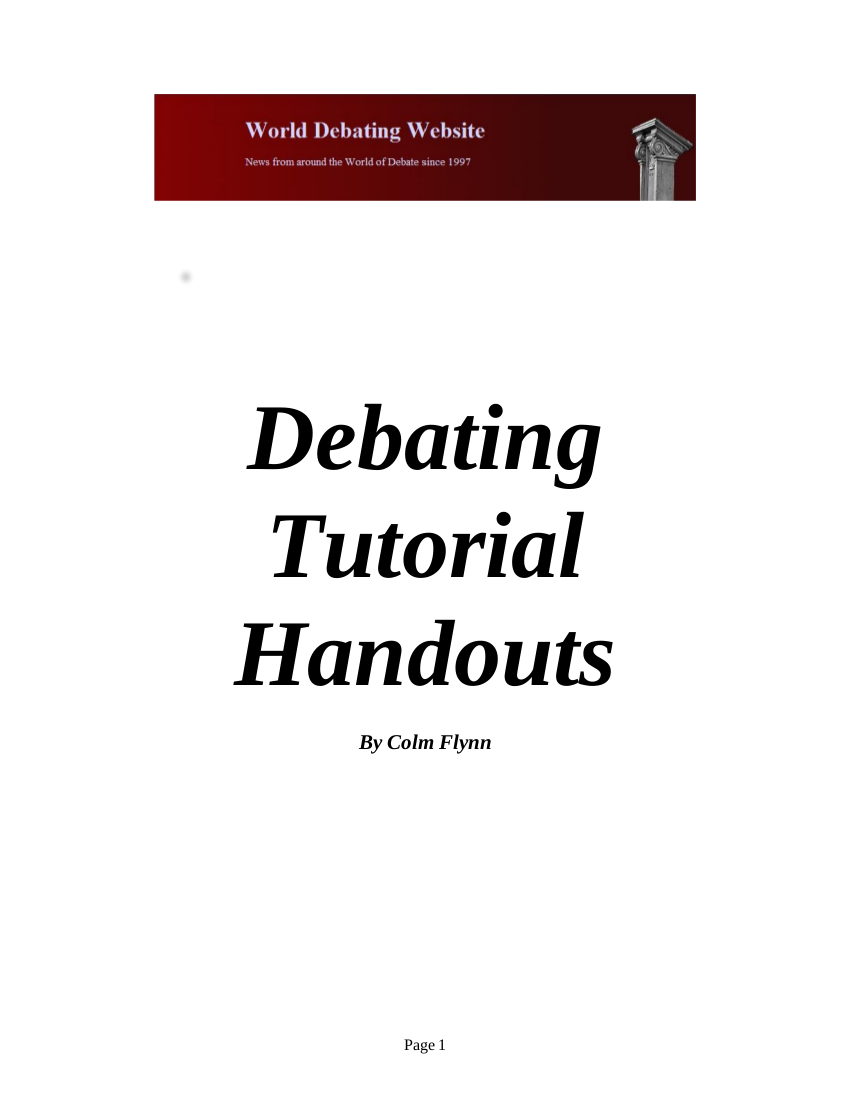 debating tutorial handout example