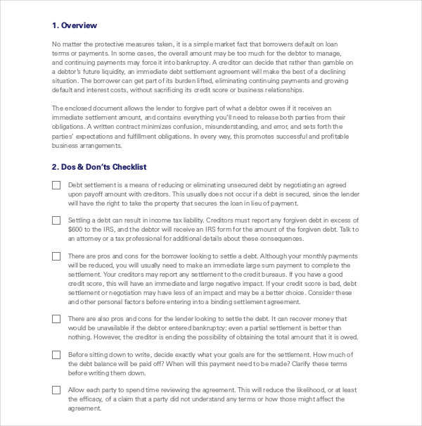 8 Debt Agreement Contract Example And Samples Pdf Doc