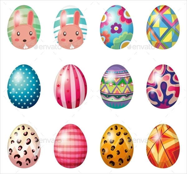 easter eggs with colorful designs