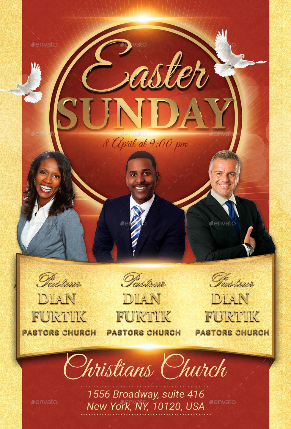 easter sunday church flyer