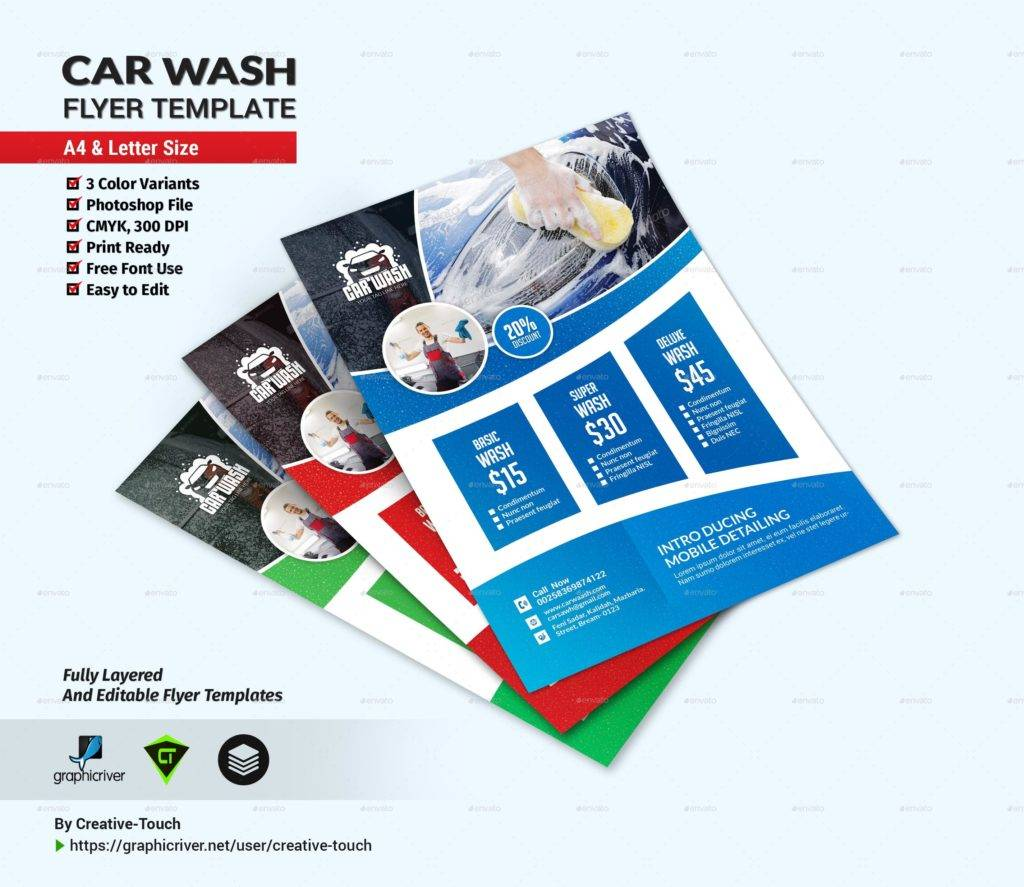 editable car wash flyer template