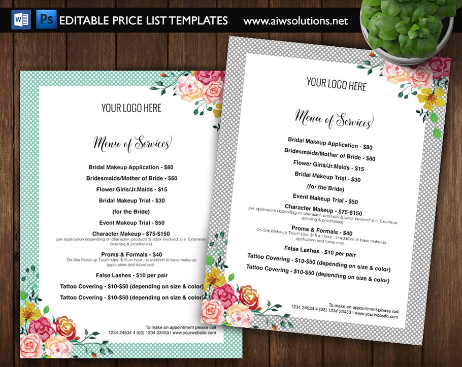 editable price list templates