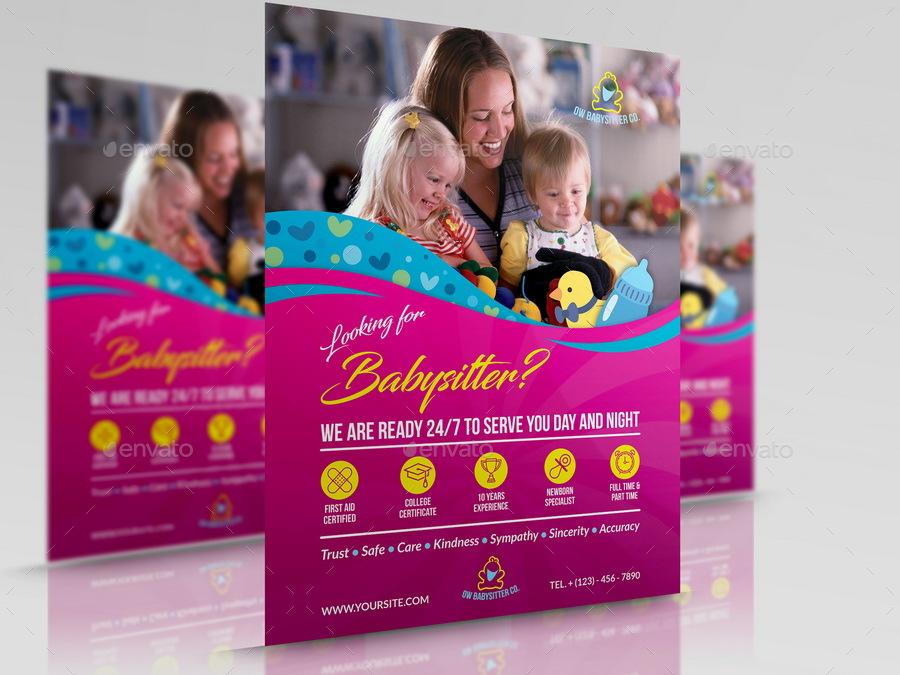 elegant babysitter flyer template