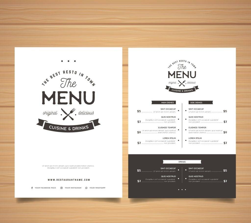 elegant black and white menu template free vector