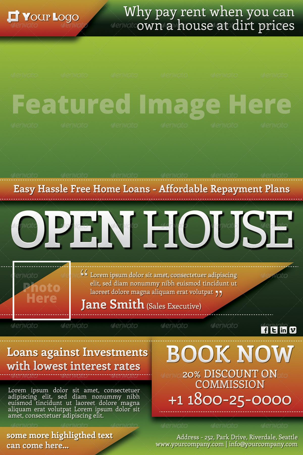 elegant open house flyer
