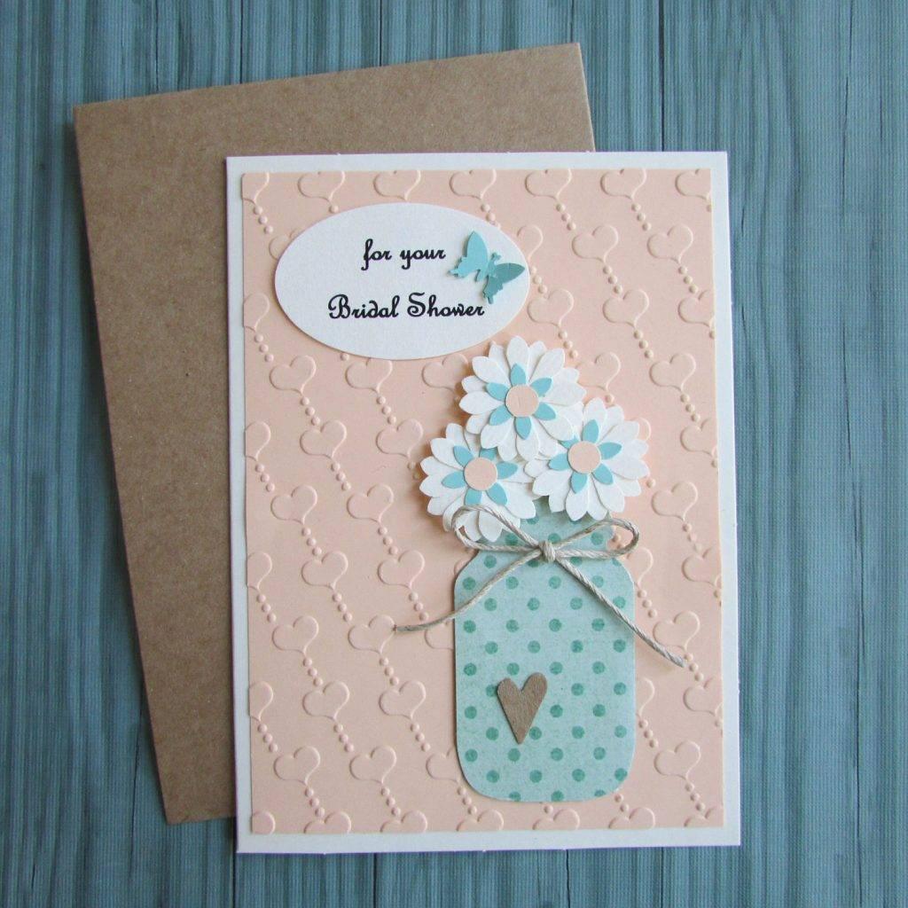 embossed mason jar bridal shower greeting card