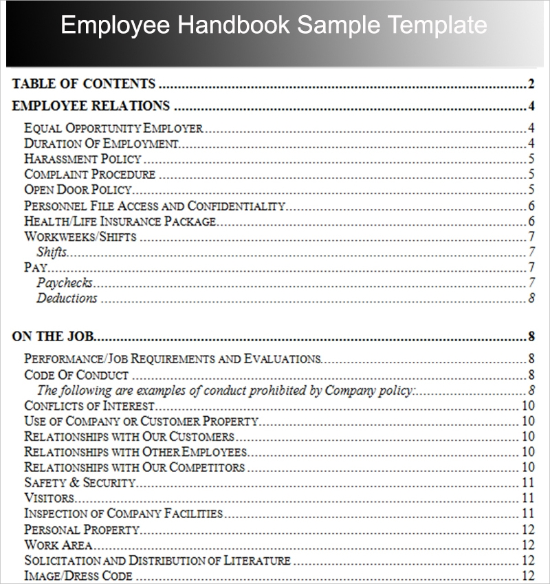 employee handbook outline example