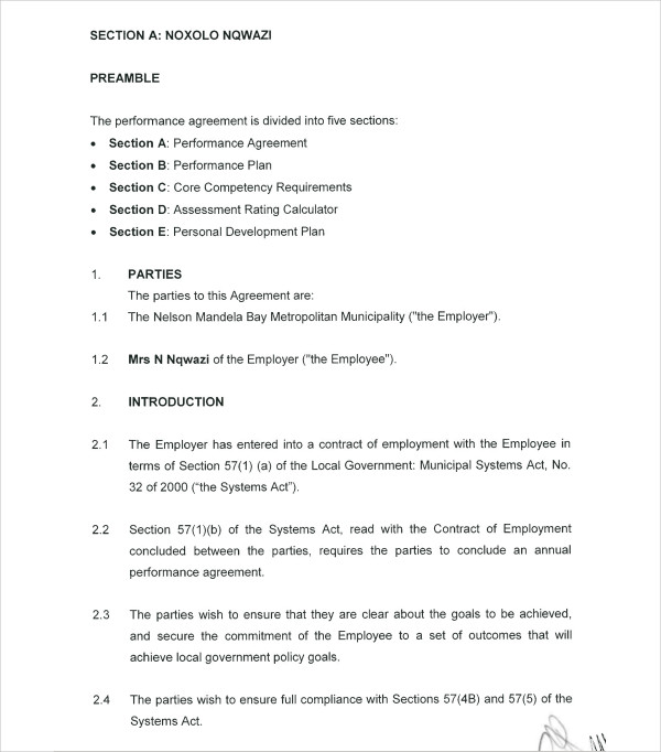 9 Performance Agreement Example And Samples Pdf Doc