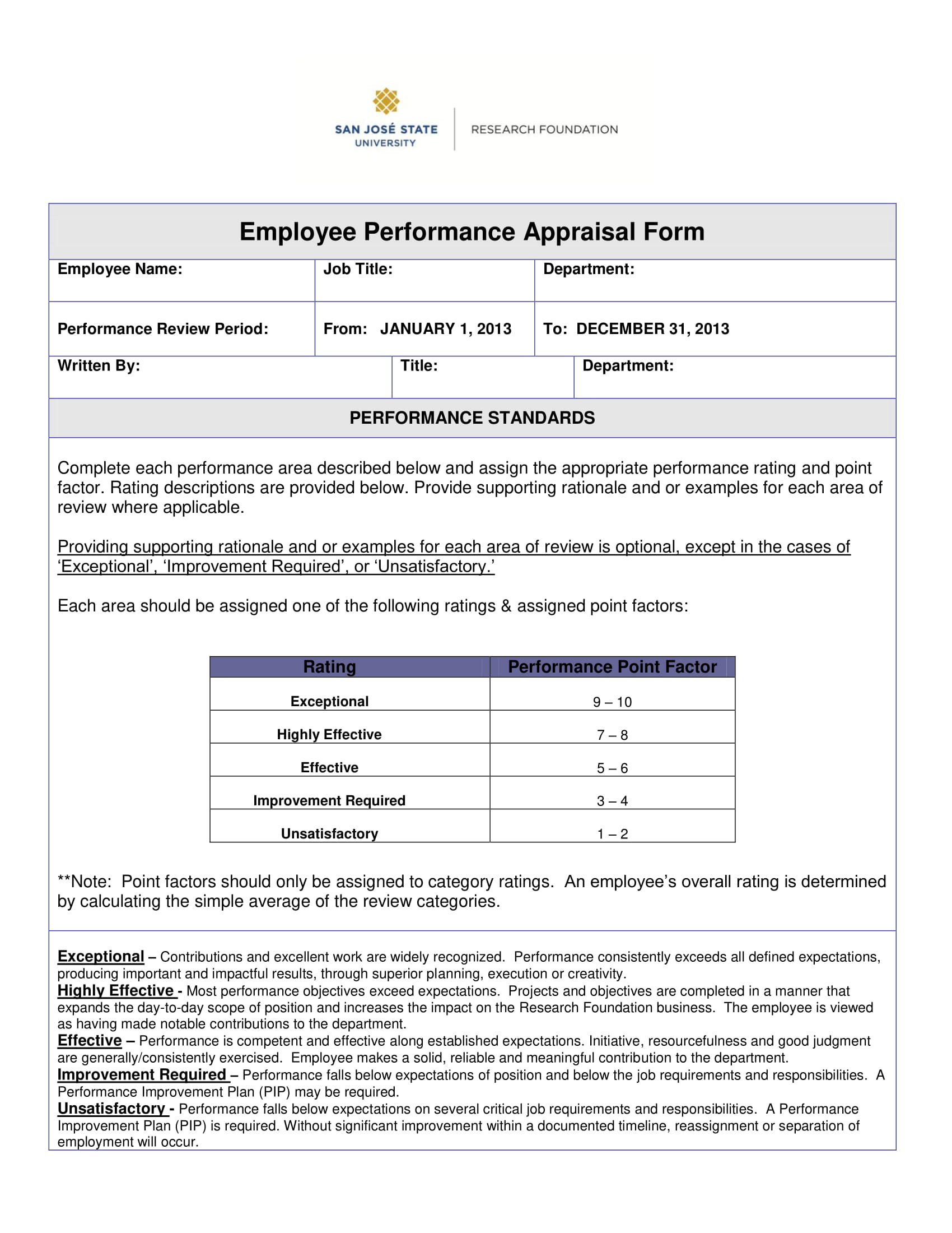 Employee Performance Appraisal Form 1