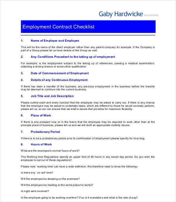employment contract checklist1