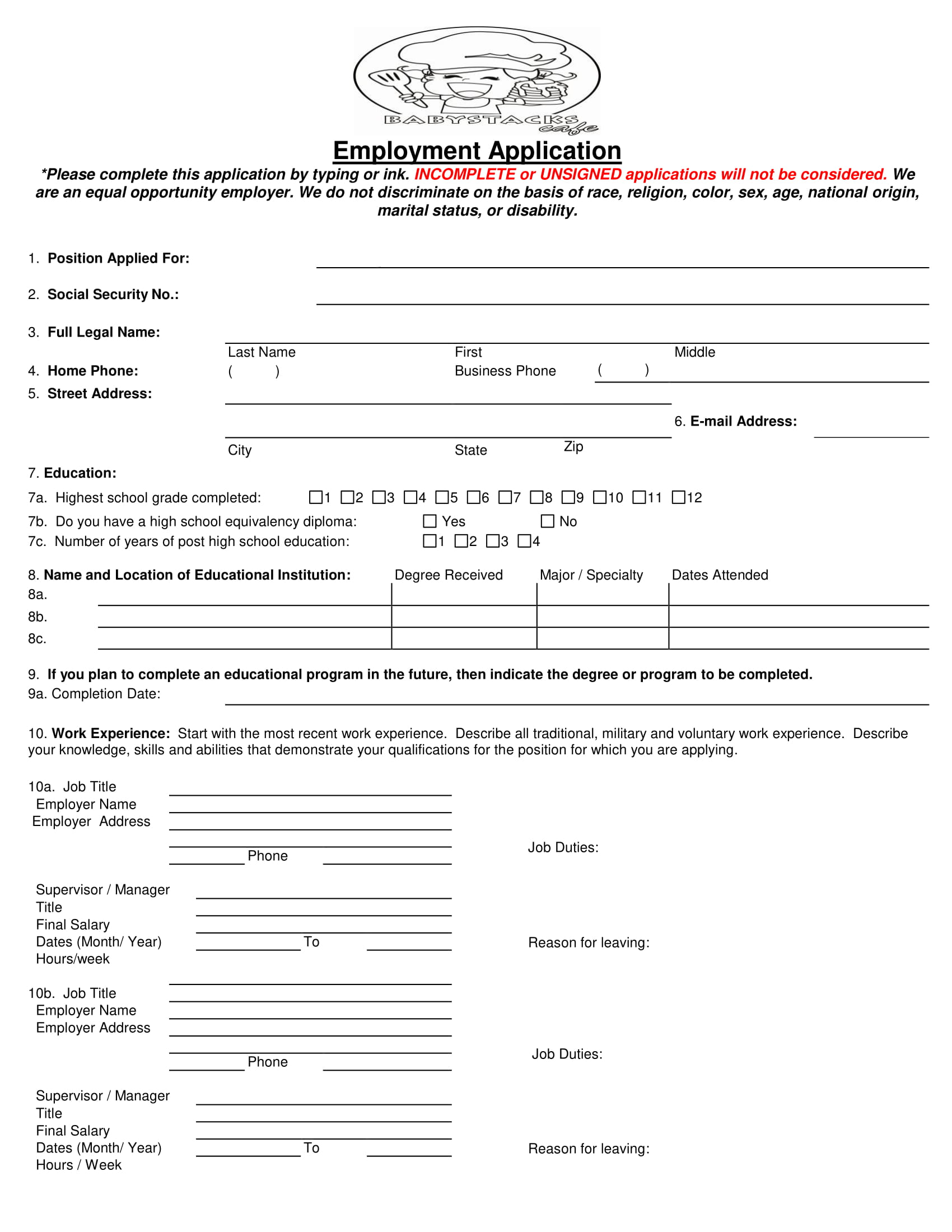 example of a job application form