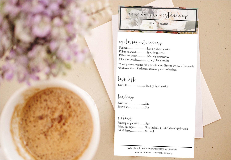 esthetician services menu