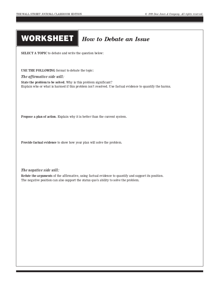 example worksheet on how to debate an issue